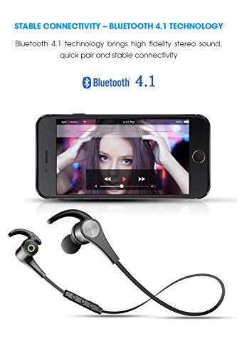 Large Product Image of SoundPEATS Bluetooth Headphones In Ear Wireless Earbuds 4.1 Magnetic Sweatproof Stereo Bluetooth Earphones for Sports With Mic (Upgraded 7 Hours Play Time, Secure Fit, Noise Cancelling) - Black