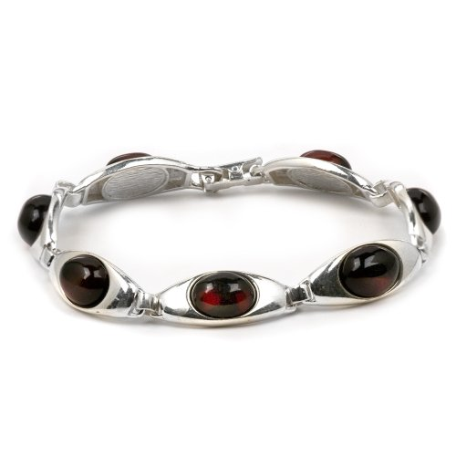 Sterling Silver Red Dark Amber Oval Cut Bracelet 7 (7 Piece Daffodil Collection)