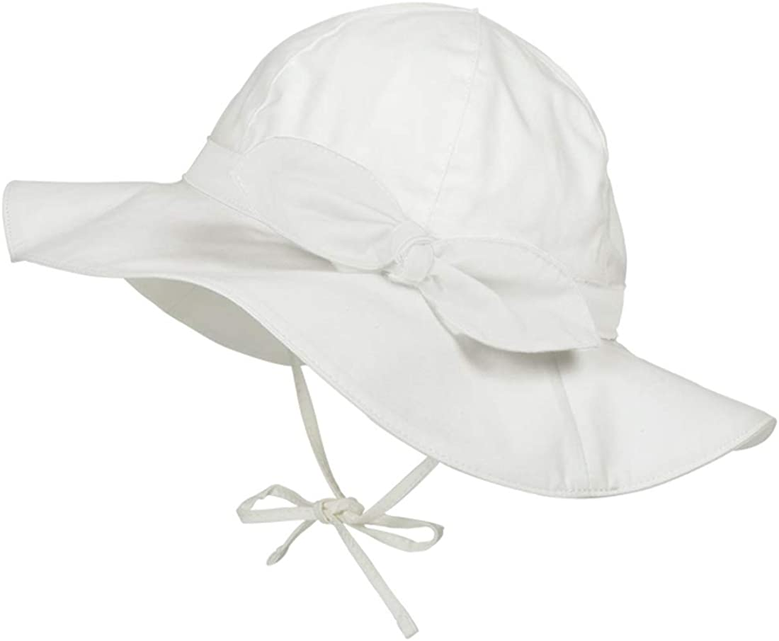 American Trends Baby Girl Sun Hat for Toddler Infant UPF 50+ Summer Beach Hat Infant Sun Hat Adjustable Wide Brim Bucket HatsA Bow White 6-12 Months