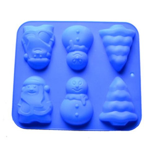 Allforhome 6 Cavities Christmas Bell Sknowman Tree Silicone Cupcake Baking Mold Soap Molds Polymer Clay Muffin Cups Craft DIY Mold TM