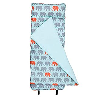 Wildkin Original Nap Mat with Pillow for Toddler Boys and Girls, Measures 50 x 20 x 1.5 inches, Ideal for Daycare and Preschool, Mom's Choice Award Winner, BPA-Free, Olive Kids (Elephants)