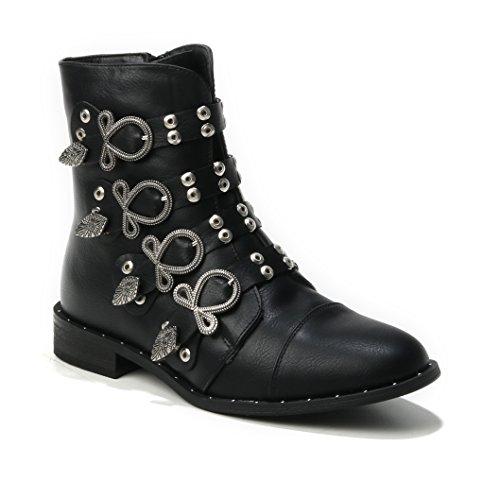 HERIXO Women's Boots Black qj7g90KYmk