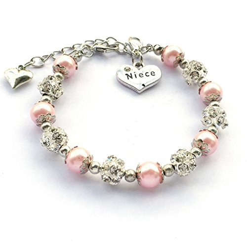 DOLON Pink Crystal Beaded Faux Pearl Bracelet Jewelry Gift for Niece