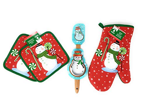 Holder Pot Snowman - Christmas House Snowman Spatula and Oven Mitt Baking Bundle. Holiday Baking bundle includes one snowman scraper spatula, snowman oven mitt, one snowman cookie cutter and two snowman pot holders. Perf