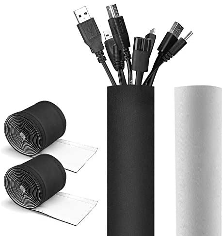 [2 Pack] JOTO 130″ Cable Management Sleeve, Cuttable Neoprene Cord Organizer System, Flexible Cable Wrap Cover Wire Hider for Desk TV Computer Office Home Theater – Reversible Black/White, Large