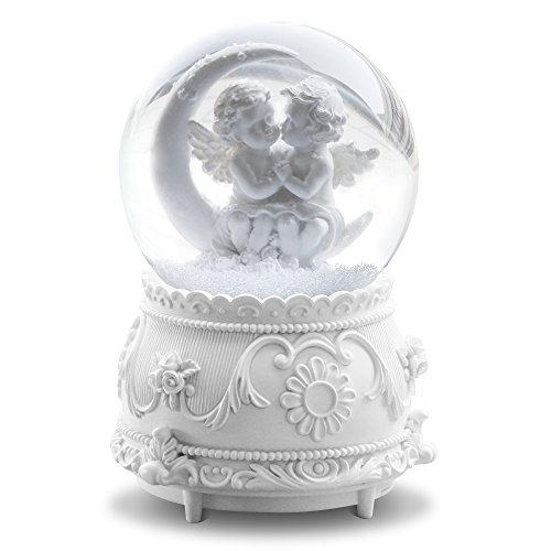 QTKJ White Lover Angel Musical Snow Globes with Color Changing LED Lights, Perfect Home Decor Valentine's Birthday Gift