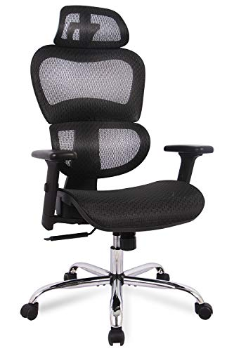 Office Chair, Ergonomics Mesh Chair Computer Chair Desk Chair High Back Chair w/Adjustable Headrest and Armrest (Table Built In Chairs With)