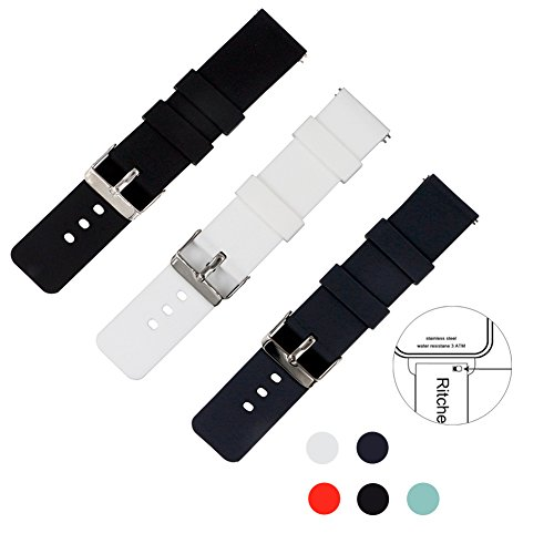 Ritche Quick Release Silicone Watch Bands 20mm Rubber Straps for Samsung Gear S2 Classic,Pebble Time Round,fossil watch