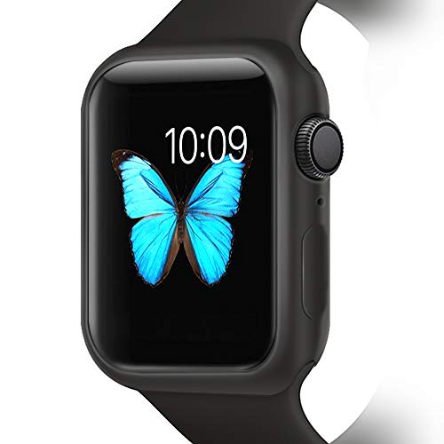 YUANHOT Compatible with Apple Watch Case Series 4 40/ 44mm, Shock Proof and Shatter-Resistant Protective Bumper Case Replacement for iWatch Series 4 (Black, 44mm)