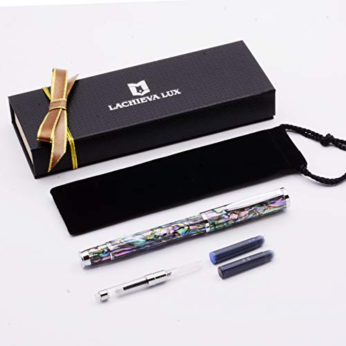 LACHIEVA LUX Natural Sea Shell Abalone Fountain Pen with Fine Size Germany SCHMIDT Nib. Luxury Pen for Every Holidays. Nice Pen Gift for Men & Women