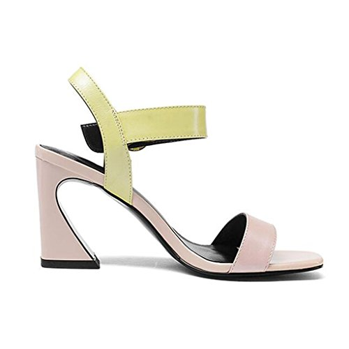 Sandals Open Toe Female Summer Hit-Color Fashion Rough High Heel Shoes Pink wh57KrcyG
