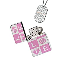 New Vibe Silver Flip Top Lighter - Love Baby Girl Pink
