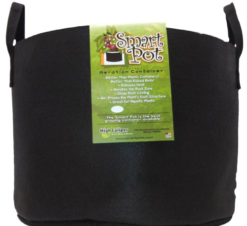 Smart Pots 15-Gallon Soft-Sided Container, Black with Strap (Smart Pot)