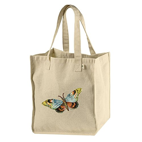 Market Tote Hemp Canvas Butterfy With Bue Orange Wings #1 By Merle (Heavyweight Hemp)