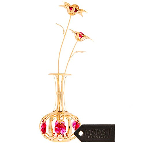 24K Gold Plated Sun Flowers In vase Ornament, Crafted with Stunning Red Crystals, Eye Catching Design, Comes in Luxury Packaging, by Matashi