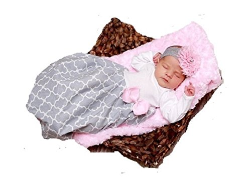 theposhlayette Infant Newborn Baby Girl Coming Home Outfit Layette Gown with Headband Newborn (Pink/Gray) (0 to 3 - Baby Girl Posh