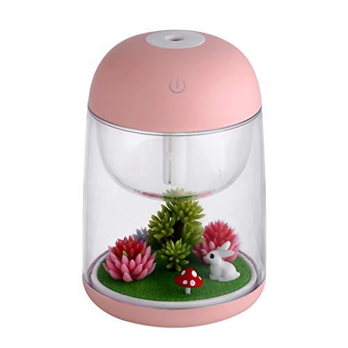vegan Mini Humidifier, Unique Micro Landscape USB Cool Mist Portable Cactus Air humidifier, Ultra-Quiet Operation for Bedroom Home Office Yoga Car Travel