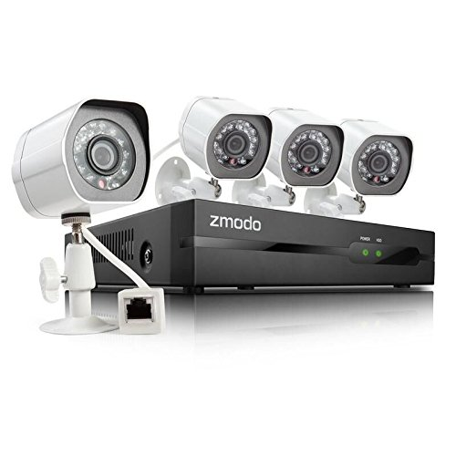 Zmodo SPoE Security System - 4 Channel NVR & 4 x 720p IP Cameras and 1TB Hard Drive