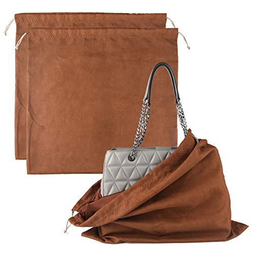 Dust Cover Storage Bags Flannel with Drawstring Pouch For Handbags Purses Pocketbooks Shoes Boots Set of 2 (XL, 23.6 21.2)