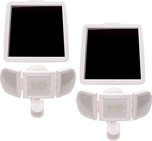 2 Pack GreenLighting 1500 Lumen Triple Head PIR Solar Security Light (White) by GreenLighting