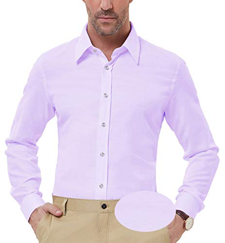 Men's Slim Fit Point Collar Slolid Dress Shirt Long Sleeve, Purple