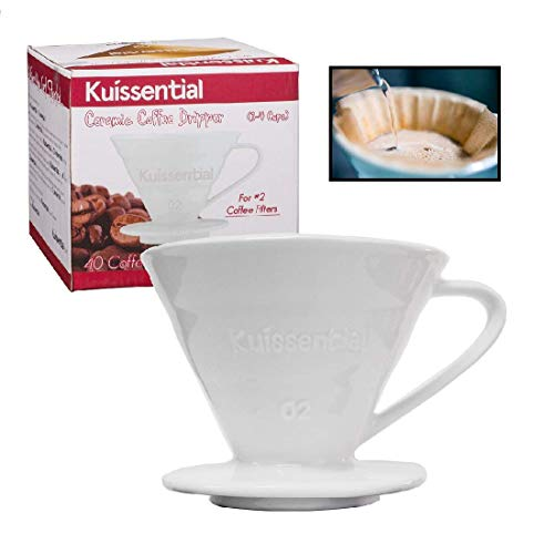 Kuissential Ceramic Coffee Dripper, Pour Over Coffee Filter, Size 02 (Includes 40 filters & coffee scoop) For Sale