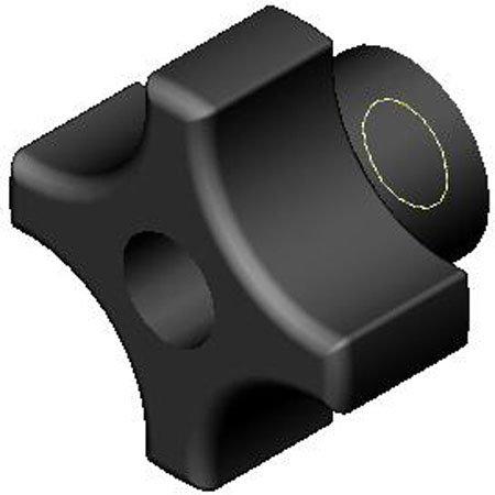 1 3/4 dia., 3/8-24 thds., Four Prong Plastic Knobs w/Black Glossy Phenolic Thru Hole Brass Insert - Inch (1 Each)