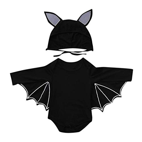 MOONHOUSE Infant Toddler Girls Boys❤️❤️ Cosplay Bat Shape Costume Romper+Hat 2 Pc Clothes Set for Baby Girls Boys