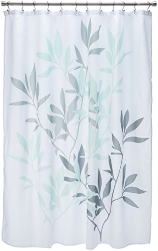 InterDesign 35603 Leaves Fabric Shower Curtain - Standard, 72'' x 72'', Gray/Mint by InterDesign
