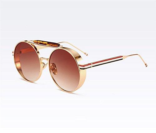 UV400 que del Gafas marco vidrios sol conducen de los vintage Steampunk redondas Marrón Oro clásico del de Keephen Pq8xwdZP
