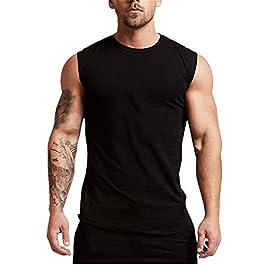 Fansu Men Muscle Tank, Men's Running Tank Top Shirt Fitness Tank Soft Loose Cut Quick-Dry Sports Training Vest…