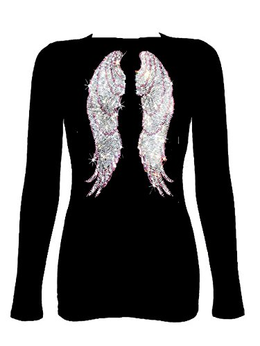 Rockeroo Boutique Pink Angel Wings Rhinestone V Neck Long Sleeve Tee Shirt (L)