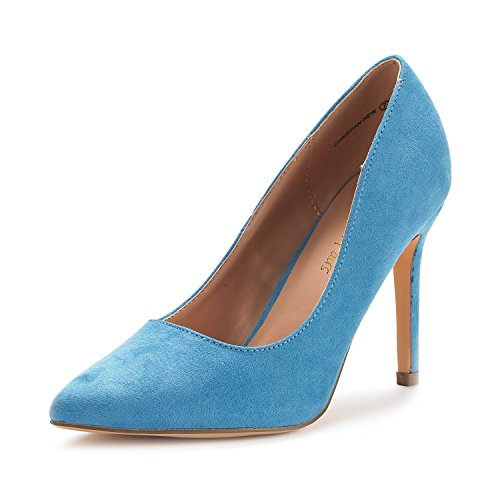 DREAM PAIRS Women's Christian-New Blue Suede High Heel Pump Shoes - 9 M US