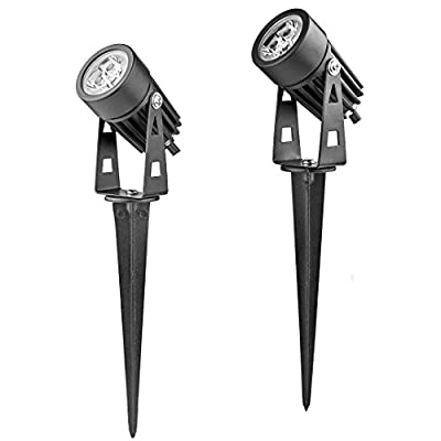 Prodeli High Power Outdoor Landscape LED Spotlight Lighting 3W Cold White Mini Lawn Light Lamps with DC 12V Power for Garden Path Courtyard Decorative Spot Light (Pack of 2)