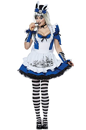 California Costumes Women's Mad Alice Adult Woman Costume, Blue/White, -