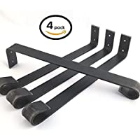 4 Pack -20L Straight Leg Brackets, Handcrafted Forged Rustic Reclaimed Salvaged Metal Steel Coffee Table Brackets, Modern decorative bench hairpin leg chair stool brackets