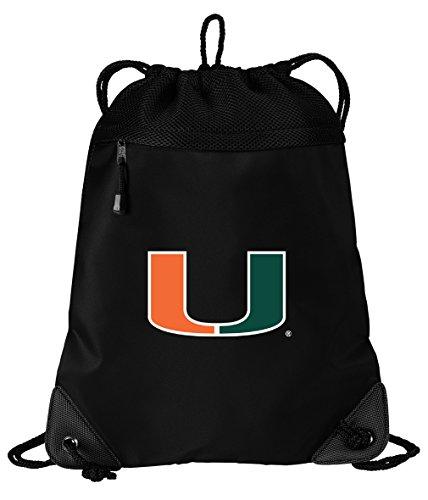 Broad Bay Miami Canes Drawstring Bag University of Miami Cinch Pack Backpack Unique MESH & Microfiber