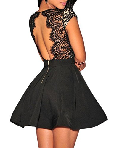 NuoReel Women's Lace Nude Illusion Skater Club Dress (L(US 4-6), Black)