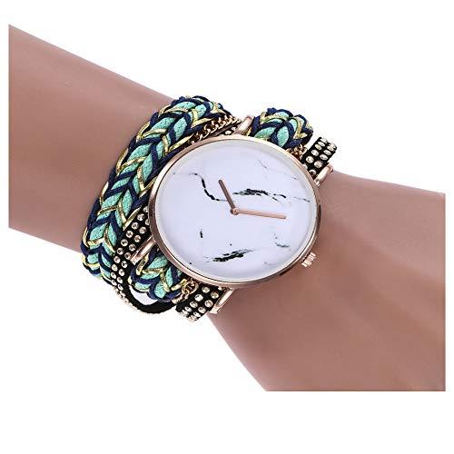 - YunhuiM⌚ZLF Brand Unisex Watch Marble Dial Watch Multi-Layer Braided Twine Strap Watch Student Couple Jewelry (Green)