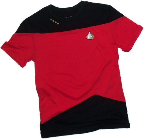 [Command Red Paneled Uniform -- Star Trek: The Next Generation T-Shirt, X-Large] (Star Trek Uniform Shirts)