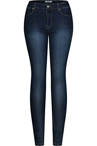 Womens Dark Blue Jeans - 2LUV Women's Stretchy 5 Pocket Denim Blue Skinny Jeans Denim Blue 11