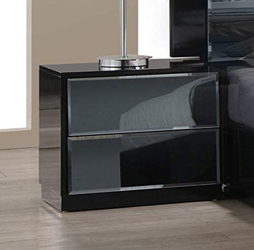 MILAN Rome Black 2-Drawer Nightstand