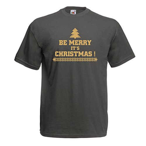 lepni.me Men's T-Shirt Be Merry It's Christmas Xmas Holiday Costumes (XX-Large Graphite Gold) ()
