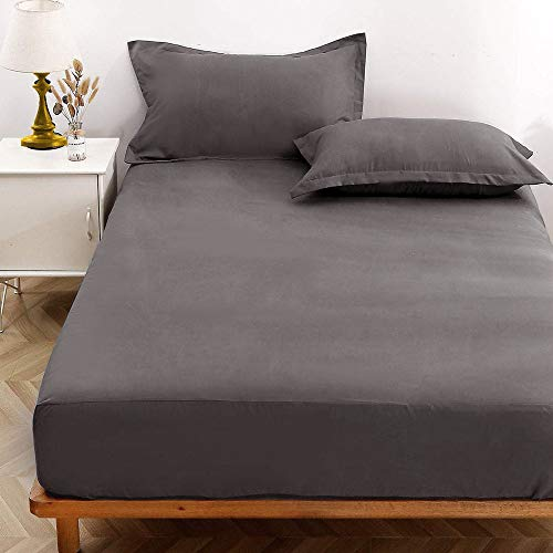 NANKO Queen Fitted Sheet 80x60 Deep Pocket Mattress Gray Grid Geometric Modern Luxury Cool Soft Lightweight Microfiber Bedding Set 2 Pillowcases Grey Plaid 10 11 12 14 15 16 inch (Sheets Gray Chambray)