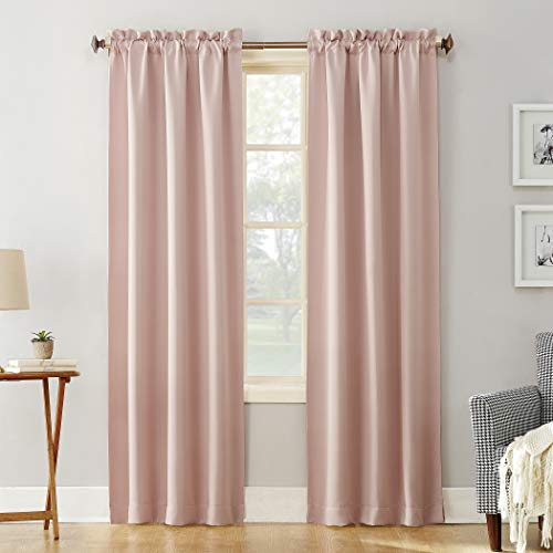 "Sun Zero Easton Blackout Energy Efficient Rod Pocket Curtain Panel, 40"" x 84"", Blush Pink"