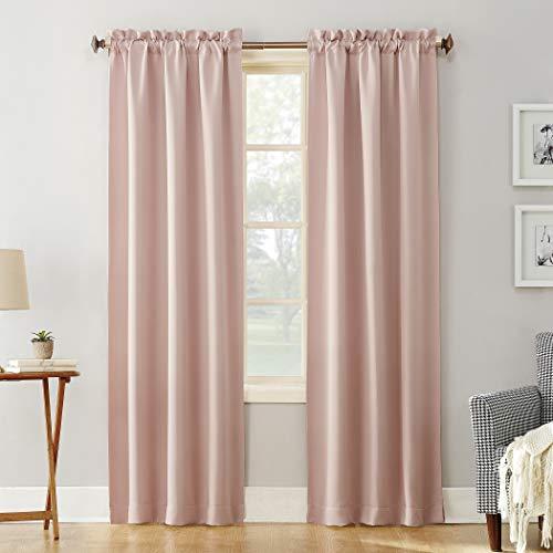 "Sun Zero Easton Blackout Energy Efficient Rod Pocket Curtain Panel, 40"" x 84"", Blush Pink"