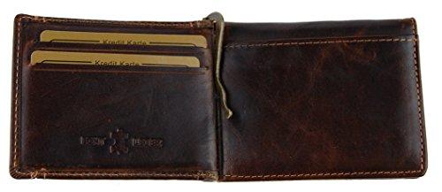 NB24 Versand Herren Geldbörse (5516), Echtes Leder, mit Geldklammer, braun, ca. 10,5 x 8 x 2,5 cm