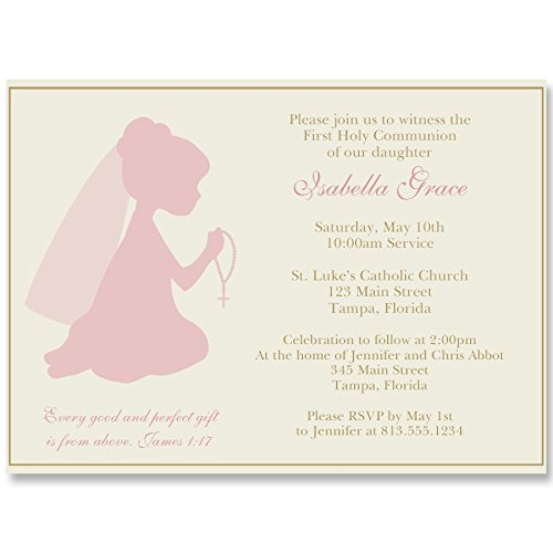 Communion Invitations, Confirmation, First Communion, Holy, Baptism, Religious, Cross, Pink, Gold, Girls, Ivory, Praying Hands, Rosary, Kneeling, 10 Printed Invites with White Envelopes, Girl -