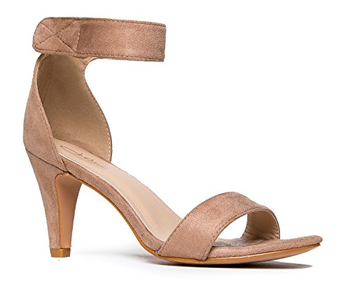 Delicious Strap Ankle Toe Suede Sandal High Taupe Heel Rosela Open CxnqfZ1HC