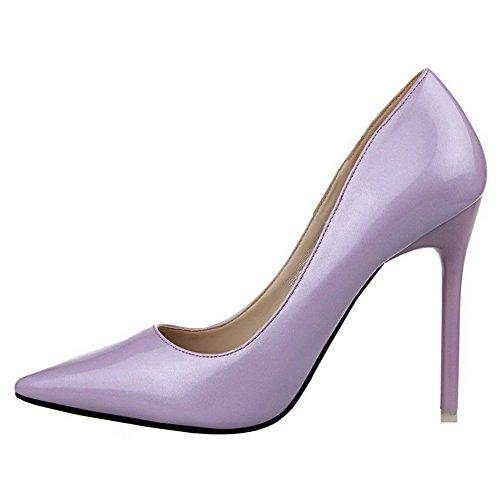 Allhqfashion Femme En Cuir Verni Fermé-orteil Talons Hauts Pompes-chaussures Violet
